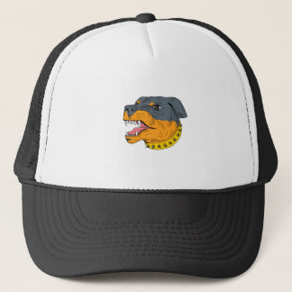 Rottweiler Guard Dog Head Aggressive Drawing Trucker Hat