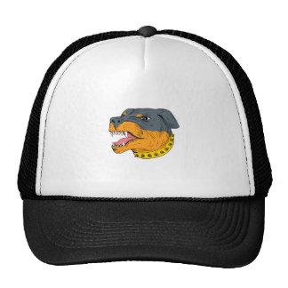 Rottweiler Guard Dog Head Aggressive Drawing Trucker Hat