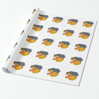Rottweiler Guard Dog Head Aggressive Drawing Wrapping Paper