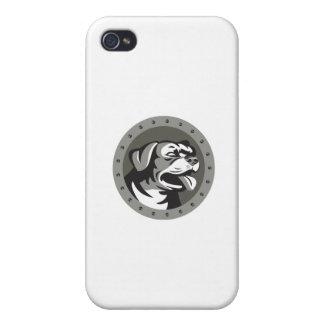 Rottweiler Guard Dog Head Metallic Circle Retro iPhone 4/4S Cases