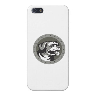 Rottweiler Guard Dog Head Metallic Circle Retro iPhone 5/5S Cases
