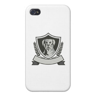 Rottweiler Head Laurel Leaves Crest Black and Whit iPhone 4 Covers