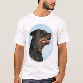 Rottweiler Head with blue background T-Shirt