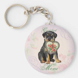 Rottweiler Heart Mom Keychain