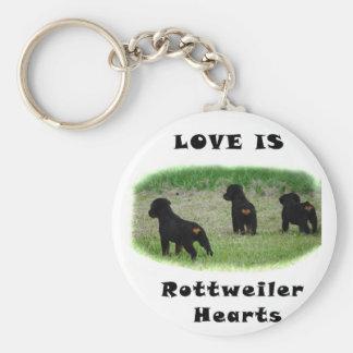 Rottweiler hearts keychain
