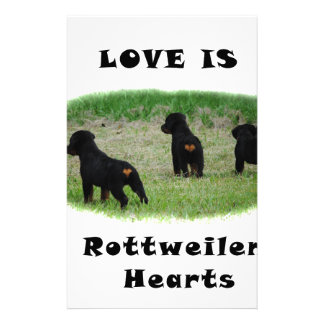 Rottweiler hearts stationery