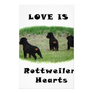 Rottweiler hearts stationery design