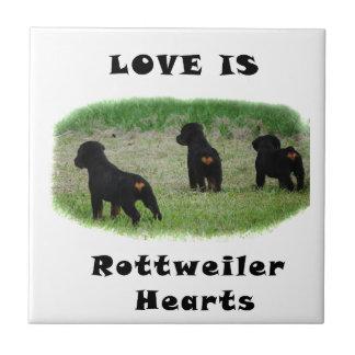Rottweiler hearts tile