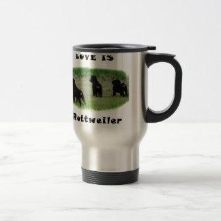 Rottweiler hearts travel mug