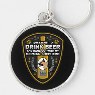 Rottweiler I Just Want To Drink Beer Keychain