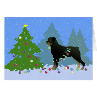 Rottweiler in the Christmas Forest Card