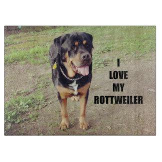 rottweiler love w pic tan cutting board