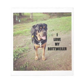 rottweiler love w pic tan notepad