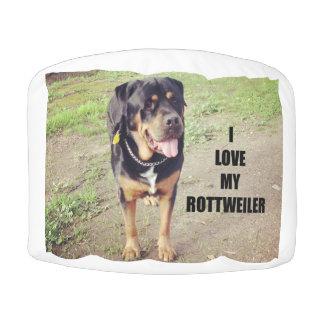 rottweiler love w pic tan pouf