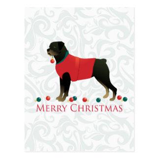 Rottweiler Merry Christmas Design Postcard