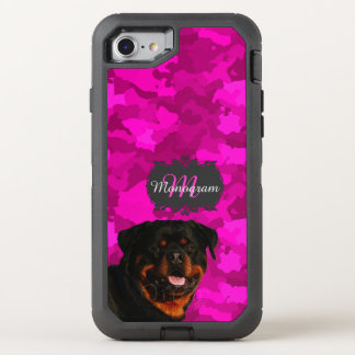 Rottweiler on Pink OtterBox Defender iPhone 8/7 Case