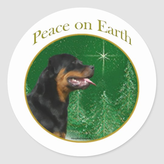 Rottweiler Peace Classic Round Sticker