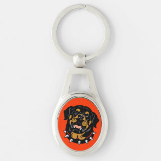 rottweiler Silver-Colored oval keychain