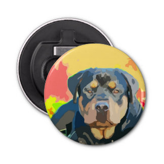 Rottweiler Portrait Digital Painting Bottle Opener