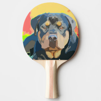 Rottweiler Portrait Digital Painting Ping Pong Paddle