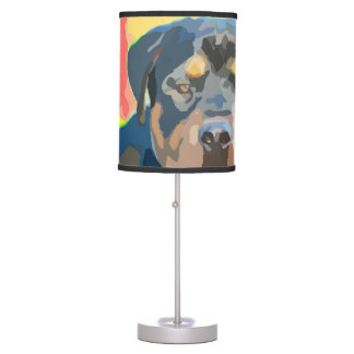 Rottweiler Portrait Digital Painting Table Lamp