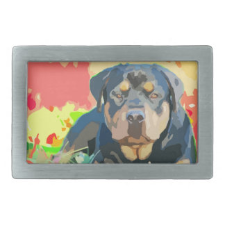 Rottweiler Portrait Painting Belt Buckle