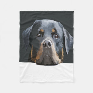 Rottweiler Portrait Vector Fleece Blanket