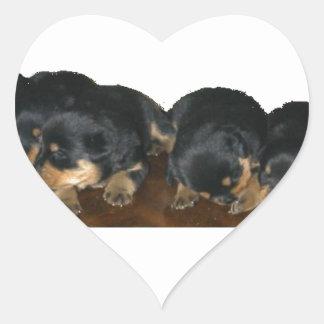 rottweiler Puppies Heart Sticker