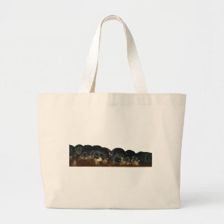 Rottweiler Puppies Large Tote Bag