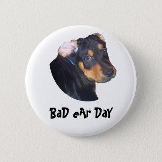 Rottweiler Puppy, BaD eAr DaY 2 Inch Round Button