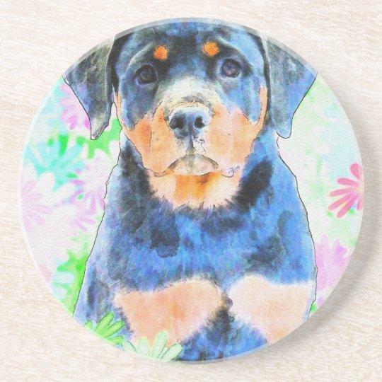 Rottweiler Puppy Beverage Coasters