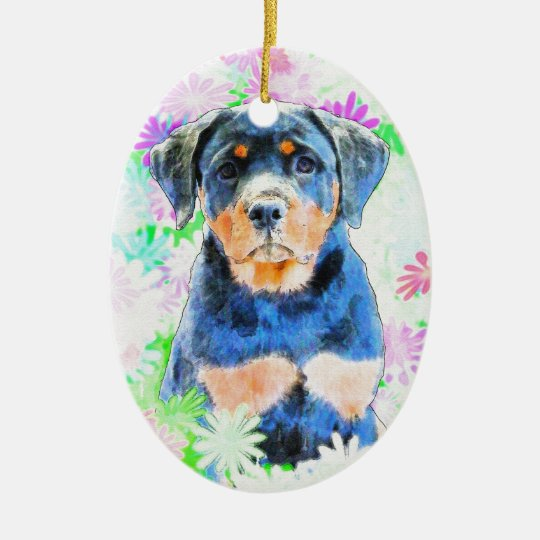 Rottweiler Puppy Ceramic Oval Ornament