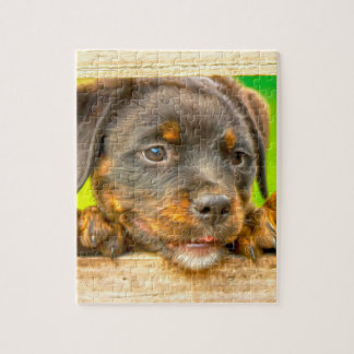 Rottweiler Puppy Dog Water Color Oil Paint Art Jigsaw Puzzle