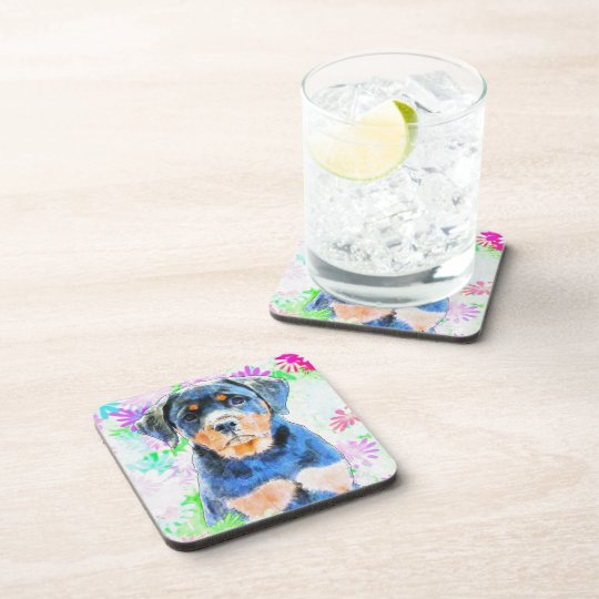 Rottweiler Puppy Drink Coaster