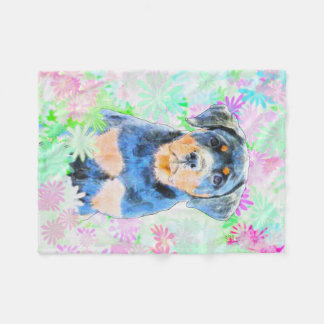 Rottweiler Puppy Fleece Blanket