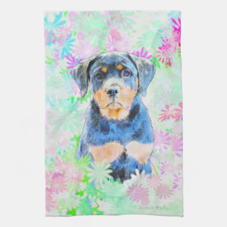 Rottweiler Puppy Kitchen Towel