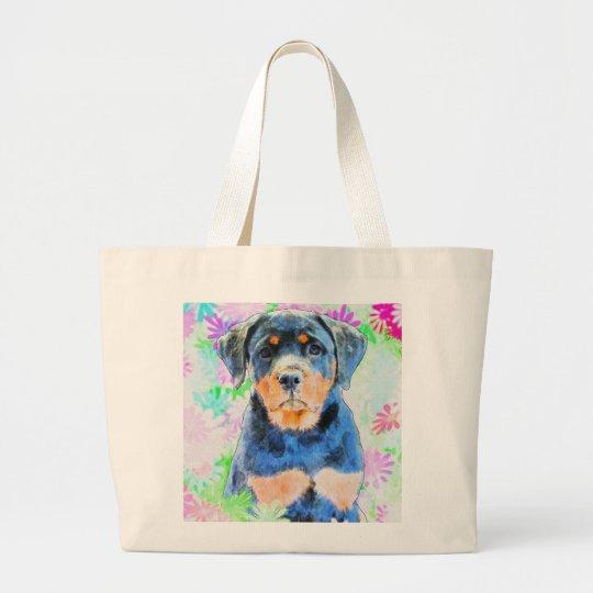 Rottweiler Puppy Large Tote Bag