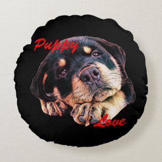 Rottweiler Puppy Love Rott Dog Canine German Breed Round Pillow