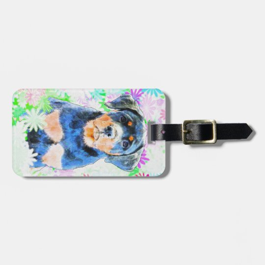 Rottweiler Puppy Luggage Tag