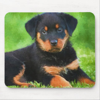 Rottweiler Puppy on the Grass Watercolor Mouse Pad