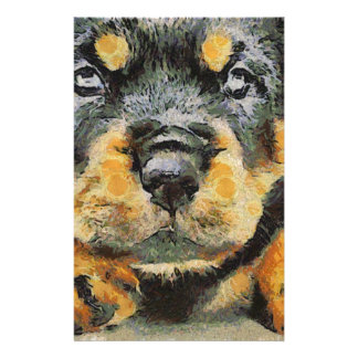 Rottweiler Puppy Portrait Personalized Stationery
