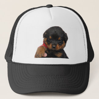 Rottweiler Puppy Red Trucker Hat