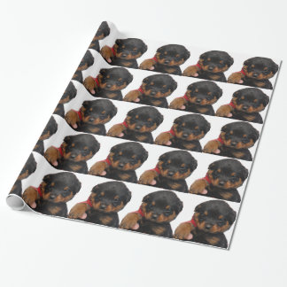 Rottweiler Puppy Red Wrapping Paper