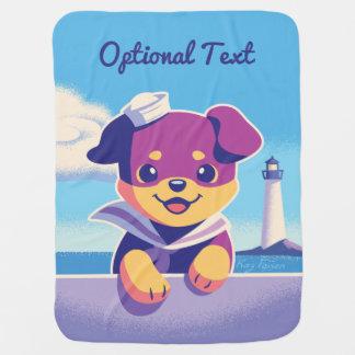 Rottweiler Puppy Sea Dog Sailor Baby Blanket