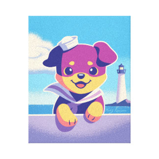 Rottweiler Puppy Sea Dog Sailor Canvas Print