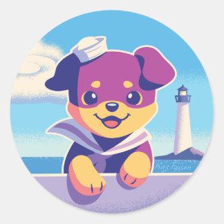 Rottweiler Puppy Sea Dog Sailor Classic Round Sticker