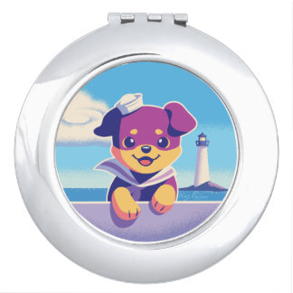 Rottweiler Puppy Sea Dog Sailor Compact Mirror