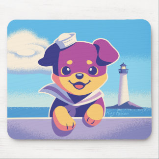 Rottweiler Puppy Sea Dog Sailor Mouse Pad