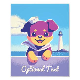 Rottweiler Puppy Sea Dog Sailor Photo Print
