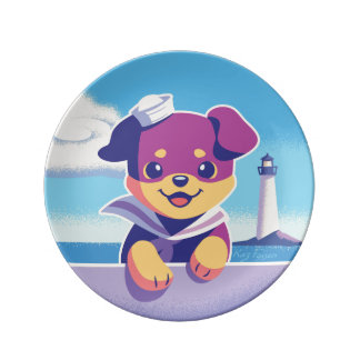 Rottweiler Puppy Sea Dog Sailor Plate